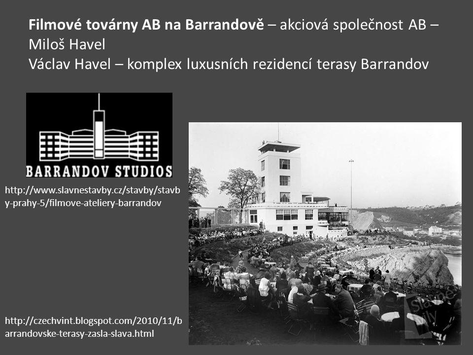 Filmové továrny AB na Barrandově – akciová společnost AB – Miloš Havel Václav Havel – komplex luxusních rezidencí terasy Barrandov http://www.slavnest