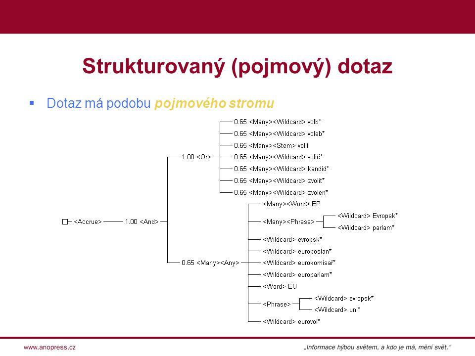 Strukturovaný (pojmový) dotaz  Dotaz má podobu pojmového stromu