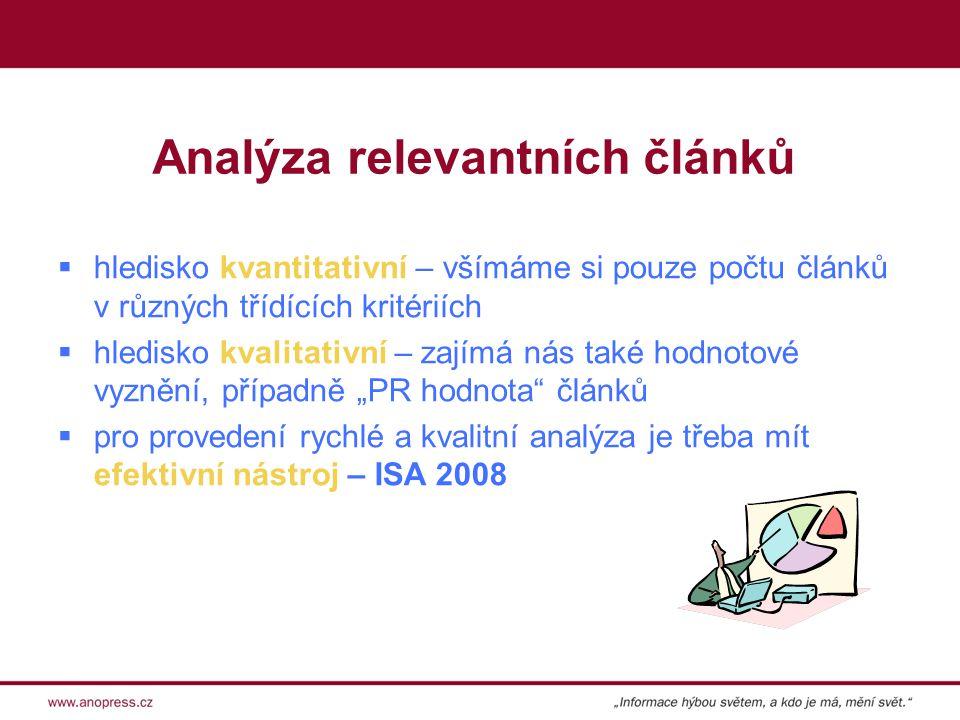 """Analýza relevantních článků  hledisko kvantitativní – všímáme si pouze počtu článků v různých třídících kritériích  hledisko kvalitativní – zajímá nás také hodnotové vyznění, případně """"PR hodnota článků  pro provedení rychlé a kvalitní analýza je třeba mít efektivní nástroj – ISA 2008"""