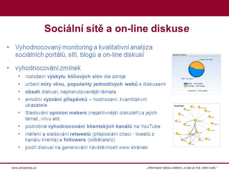 Sociální sítě a on-line diskuse Vyhodnocovaný monitoring a kvalitativní analýza sociálních portálů, sítí, blogů a on-line diskusí vyhodnocování zmínek rozložení výskytu klíčových slov dle zdroje určení míry vlivu, popularity jednotlivých webů s diskusemi obsah diskusí, nejdiskutovanější témata emoční vyznění příspěvků – hodnocení.