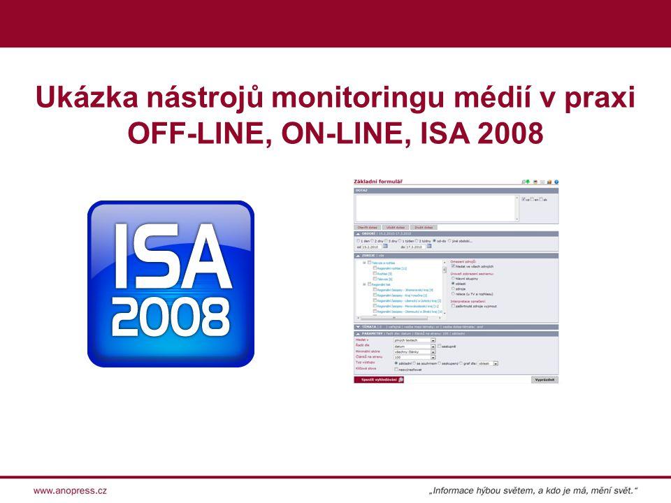 Ukázka nástrojů monitoringu médií v praxi OFF-LINE, ON-LINE, ISA 2008