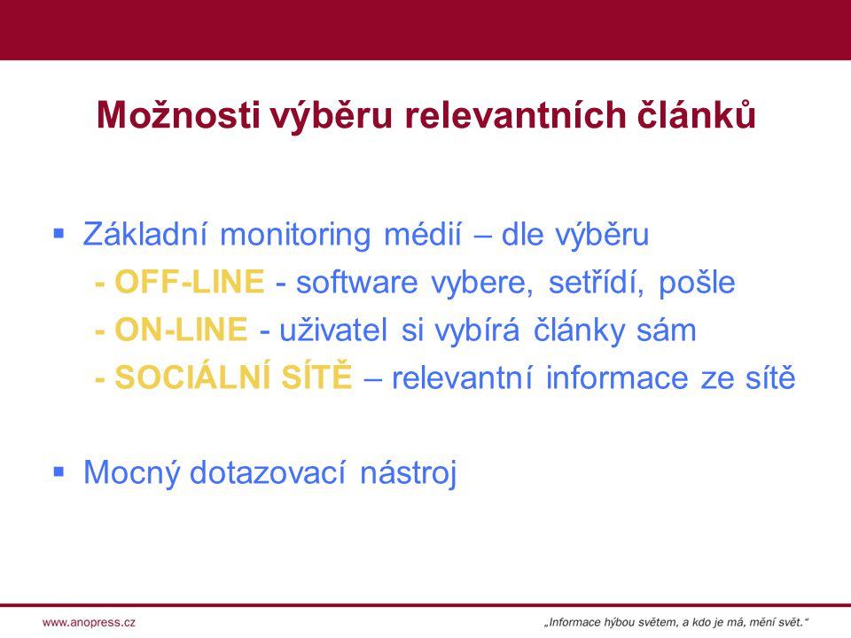 Možnosti výběru relevantních článků  Základní monitoring médií – dle výběru - OFF-LINE - software vybere, setřídí, pošle - ON-LINE - uživatel si vybírá články sám - SOCIÁLNÍ SÍTĚ – relevantní informace ze sítě  Mocný dotazovací nástroj