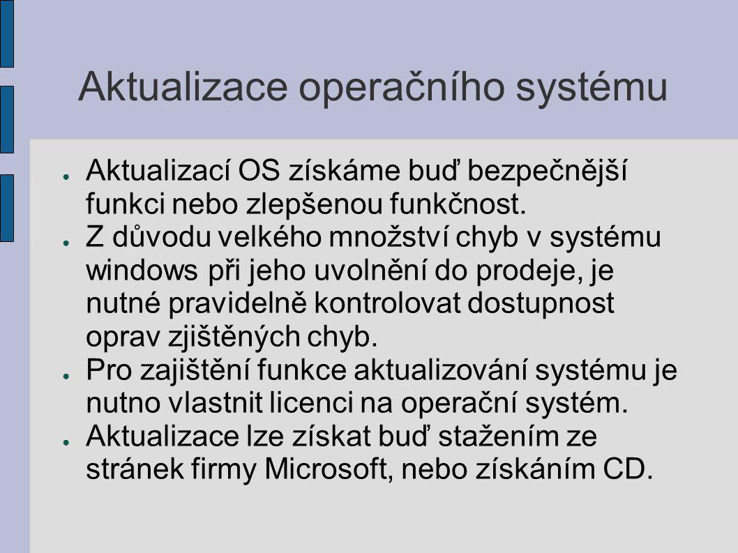 Aktualizace operačního systému ● Aktualizací OS získáme buď bezpečnější funkci nebo zlepšenou funkčnost. ● Z důvodu velkého množství chyb v systému wi