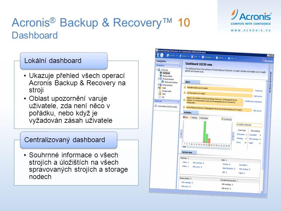 Ukazuje přehled všech operací Acronis Backup & Recovery na stroji Oblast upozornění varuje uživatele, zda není něco v pořádku, nebo když je vyžadován