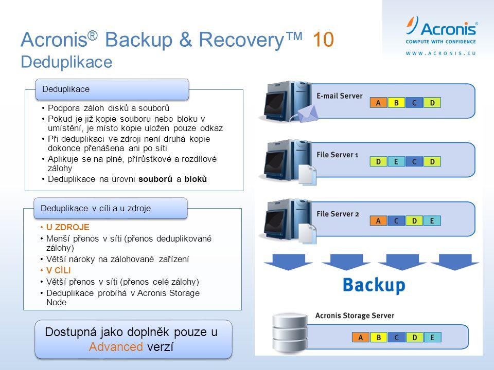 Acronis ® Backup & Recovery™ 10 Deduplikace Podpora záloh disků a souborů Pokud je již kopie souboru nebo bloku v umístění, je místo kopie uložen pouz