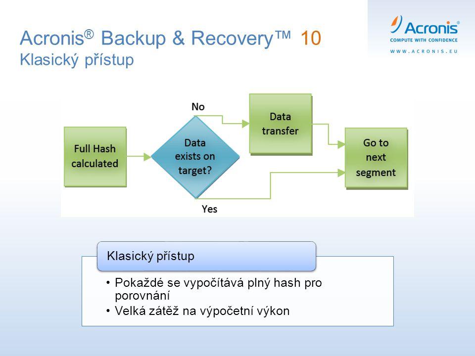 Acronis ® Backup & Recovery™ 10 Klasický přístup Pokaždé se vypočítává plný hash pro porovnání Velká zátěž na výpočetní výkon Klasický přístup