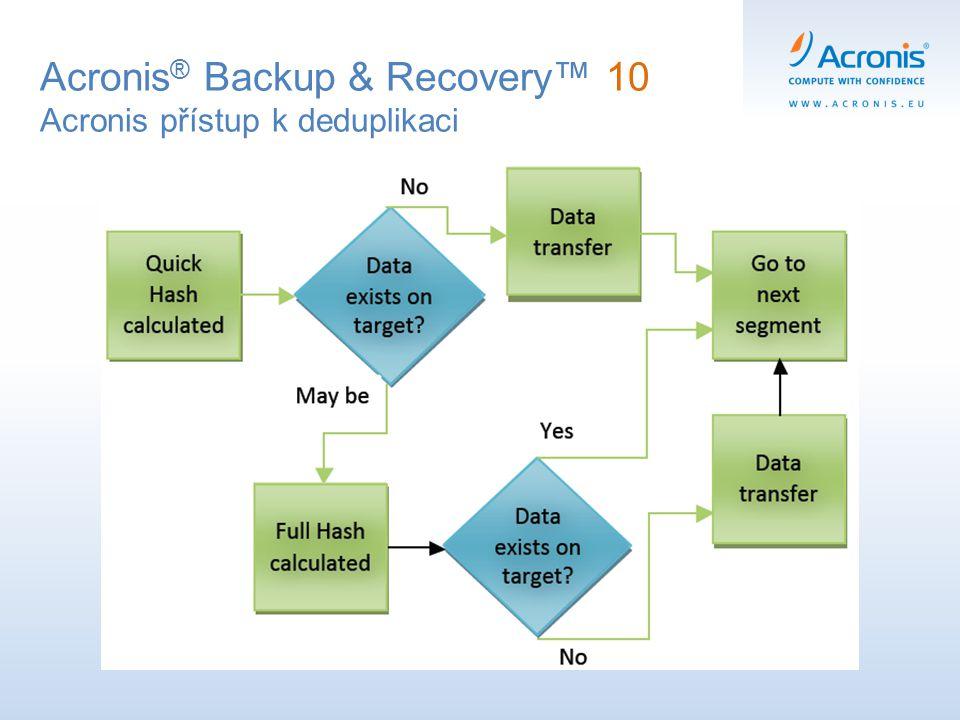 Acronis ® Backup & Recovery™ 10 Acronis přístup k deduplikaci