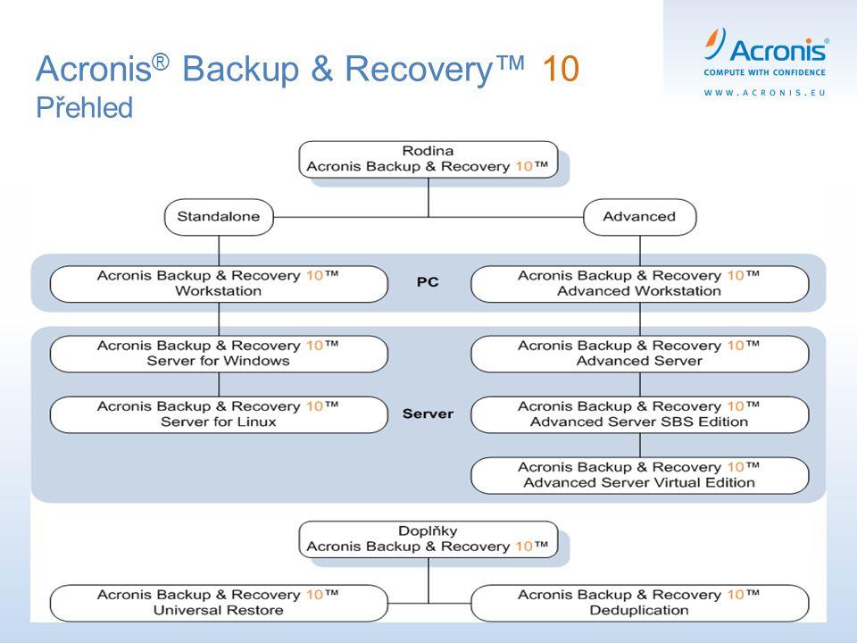 Acronis ® Backup & Recovery™ 10 Přehled