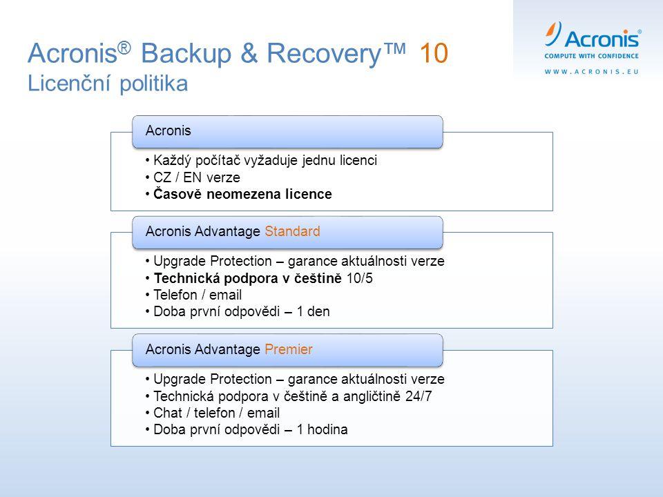 Každý počítač vyžaduje jednu licenci CZ / EN verze Časově neomezena licence Acronis Upgrade Protection – garance aktuálnosti verze Technická podpora v