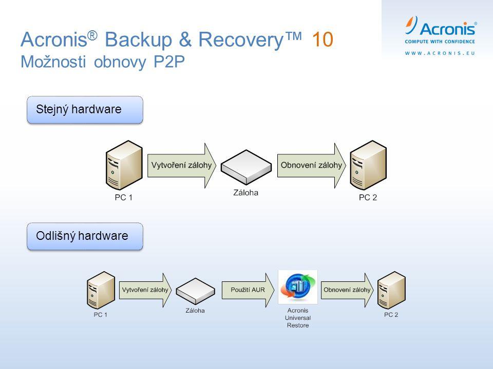 Acronis ® Backup & Recovery™ 10 Možnosti obnovy P2P Stejný hardwareOdlišný hardware
