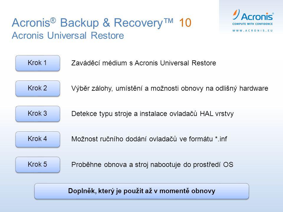 Acronis ® Backup & Recovery™ 10 Acronis Universal Restore Krok 1Krok 2Krok 3Krok 4 Krok 5 Zaváděcí médium s Acronis Universal Restore Výběr zálohy, um