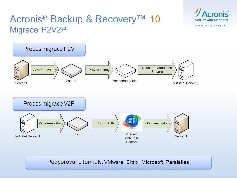 Acronis ® Backup & Recovery™ 10 Migrace P2V2P Proces migrace P2VPodporované formáty: VMware, Citrix, Microsoft, Paralalles Proces migrace V2P
