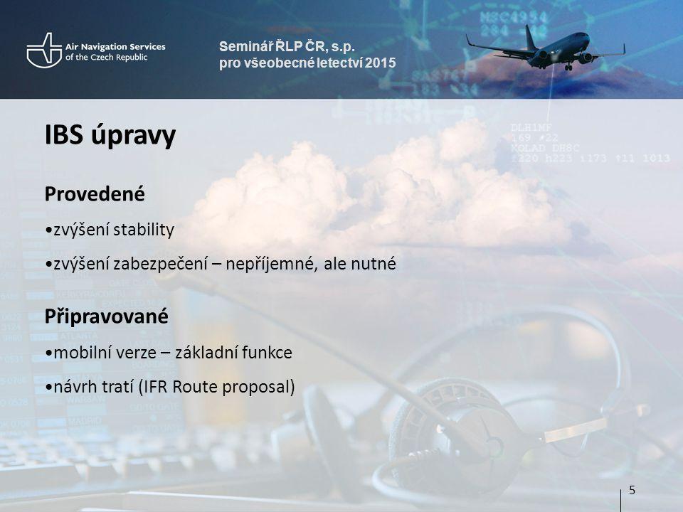Seminář ŘLP ČR, s.p. pro všeobecné letectví 2015 IBS úpravy Provedené zvýšení stability zvýšení zabezpečení – nepříjemné, ale nutné Připravované mobil