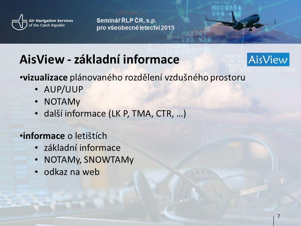 Seminář ŘLP ČR, s.p. pro všeobecné letectví 2015 AisView - základní informace vizualizace plánovaného rozdělení vzdušného prostoru AUP/UUP NOTAMy dalš