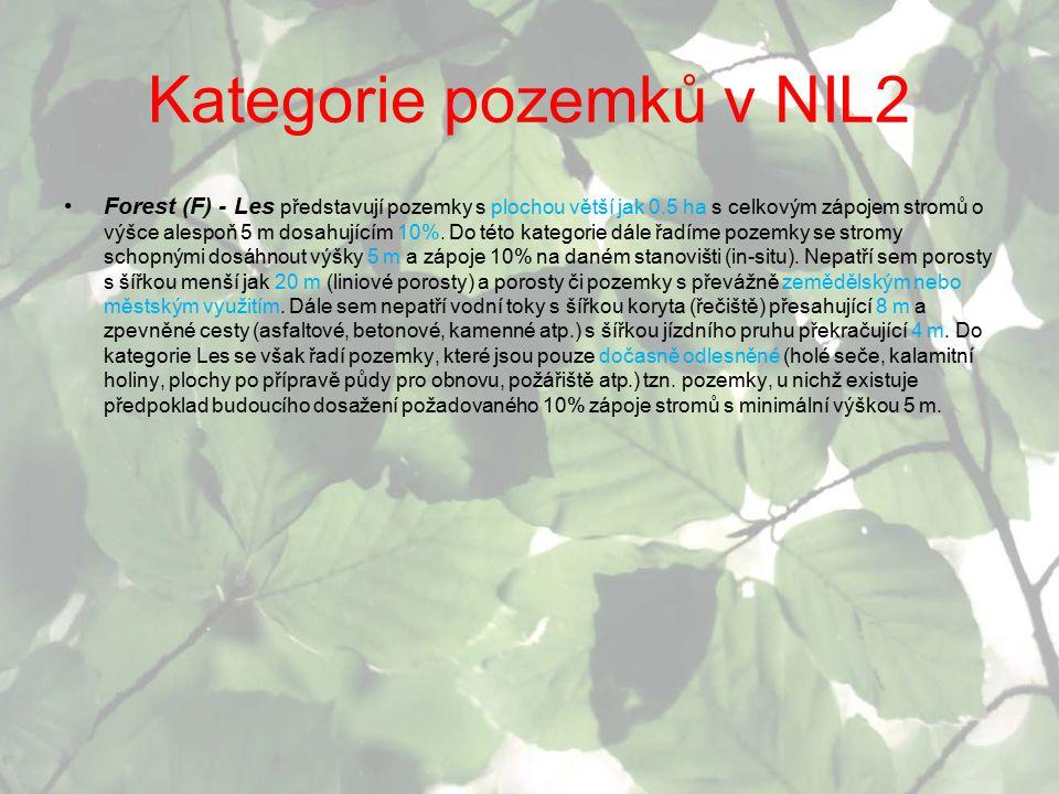 Kategorie pozemků v NIL2 Forest (F) - Les představují pozemky s plochou větší jak 0.5 ha s celkovým zápojem stromů o výšce alespoň 5 m dosahujícím 10%