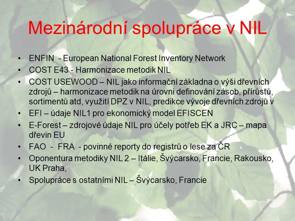 Mezinárodní spolupráce v NIL ENFIN - European National Forest Inventory Network COST E43 - Harmonizace metodik NIL COST USEWOOD – NIL jako informační