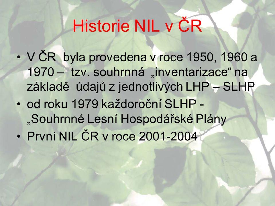 "Historie NIL v ČR V ČR byla provedena v roce 1950, 1960 a 1970 – tzv. souhrnná ""inventarizace"" na základě údajů z jednotlivých LHP – SLHP od roku 1979"