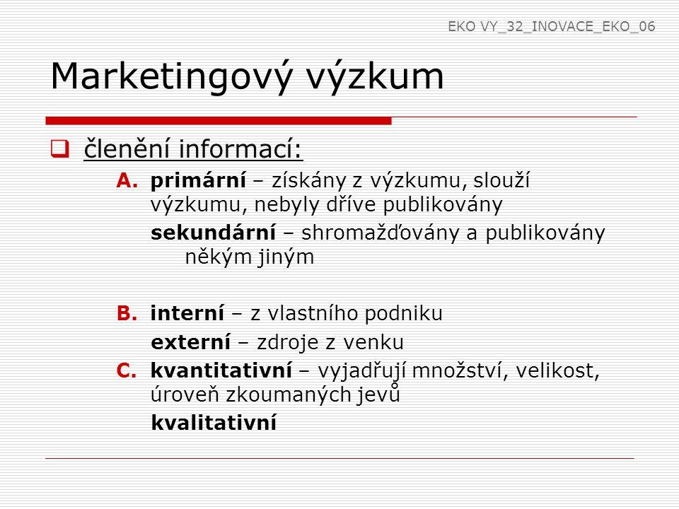Marketingový výzkum  členění informací: A.primární – získány z výzkumu, slouží výzkumu, nebyly dříve publikovány sekundární – shromažďovány a publikovány někým jiným B.interní – z vlastního podniku externí – zdroje z venku C.kvantitativní – vyjadřují množství, velikost, úroveň zkoumaných jevů kvalitativní EKO VY_32_INOVACE_EKO_06