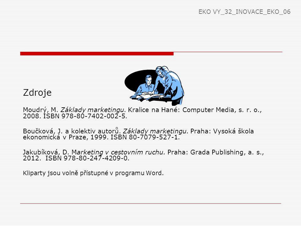 Zdroje Moudrý, M. Základy marketingu. Kralice na Hané: Computer Media, s. r. o., 2008. ISBN 978-80-7402-002-5. Boučková, J. a kolektiv autorů. Základy