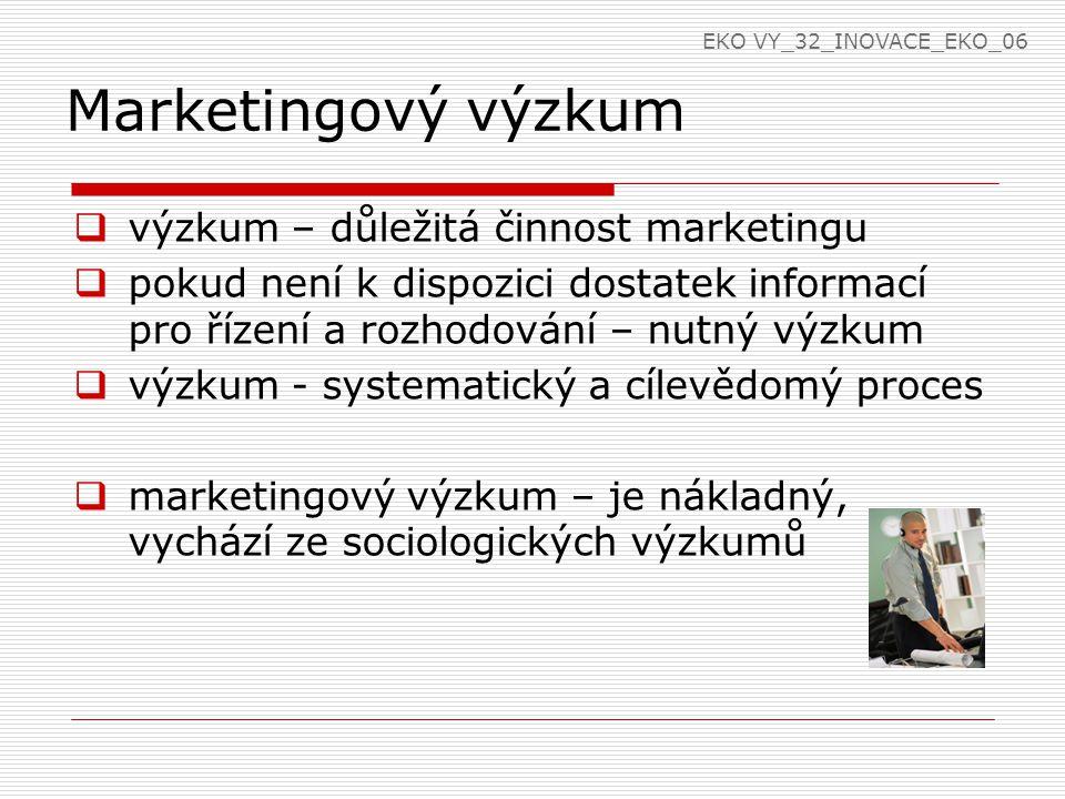 Marketingový výzkum  výzkum – důležitá činnost marketingu  pokud není k dispozici dostatek informací pro řízení a rozhodování – nutný výzkum  výzkum - systematický a cílevědomý proces  marketingový výzkum – je nákladný, vychází ze sociologických výzkumů EKO VY_32_INOVACE_EKO_06
