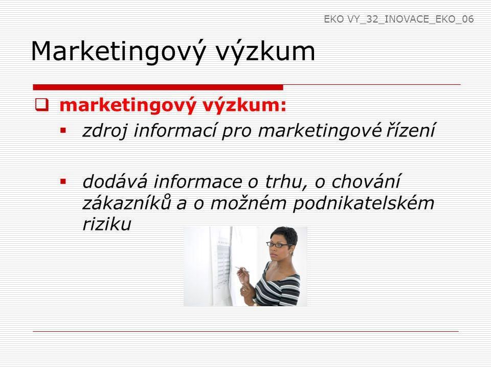 Marketingový výzkum  marketingový výzkum:  zdroj informací pro marketingové řízení  dodává informace o trhu, o chování zákazníků a o možném podnikatelském riziku EKO VY_32_INOVACE_EKO_06