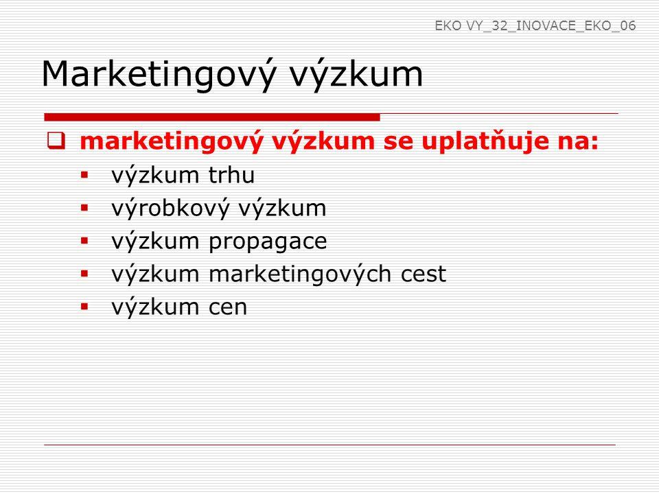 Marketingový výzkum  marketingový výzkum se uplatňuje na:  výzkum trhu  výrobkový výzkum  výzkum propagace  výzkum marketingových cest  výzkum cen EKO VY_32_INOVACE_EKO_06