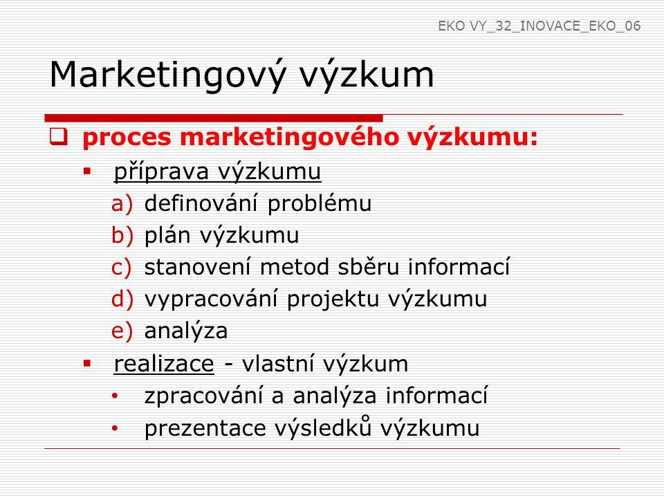 Marketingový výzkum  proces marketingového výzkumu:  příprava výzkumu a)definování problému b)plán výzkumu c)stanovení metod sběru informací d)vypracování projektu výzkumu e)analýza  realizace - vlastní výzkum zpracování a analýza informací prezentace výsledků výzkumu EKO VY_32_INOVACE_EKO_06