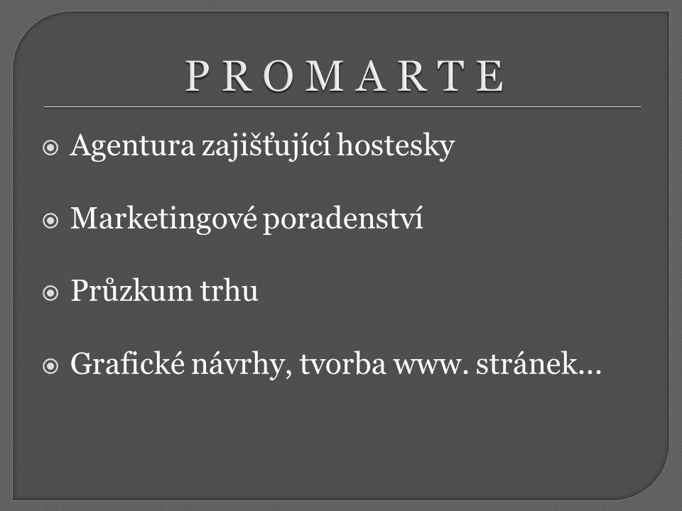  Agentura zajišťující hostesky  Marketingové poradenství  Průzkum trhu  Grafické návrhy, tvorba www.