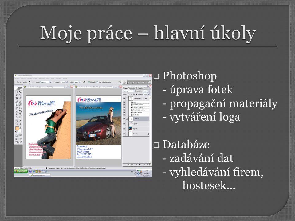  Photoshop - úprava fotek - propagační materiály - vytváření loga  Databáze - zadávání dat - vyhledávání firem, hostesek...