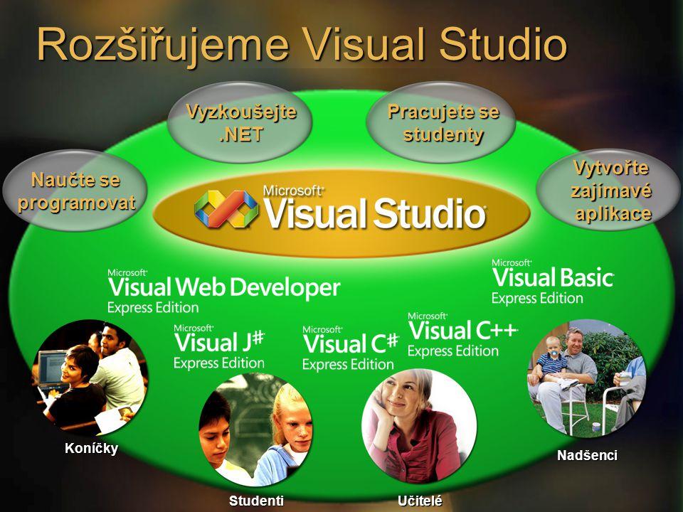 Rozšiřujeme Visual Studio Vyzkoušejte.NET Pracujete se studenty Vytvořtezajímavé aplikace aplikace Naučte se programovat Koníčky Studenti Učitelé Nadšenci