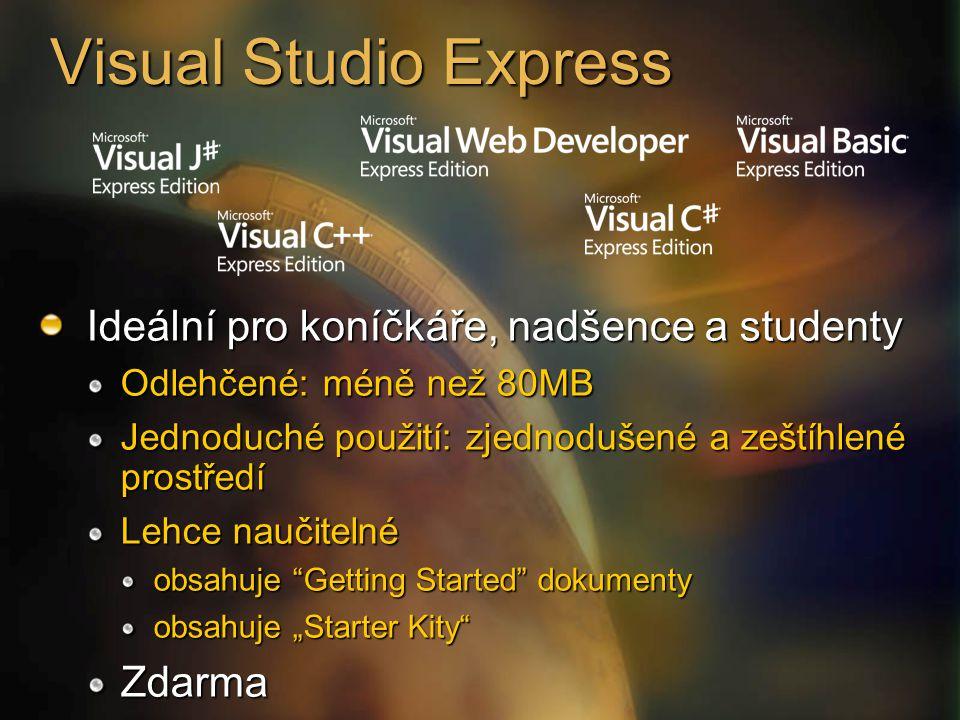 """Visual Studio Express Ideální pro koníčkáře, nadšence a studenty Odlehčené: méně než 80MB Jednoduché použití: zjednodušené a zeštíhlené prostředí Lehce naučitelné obsahuje Getting Started dokumenty obsahuje """"Starter Kity Zdarma"""