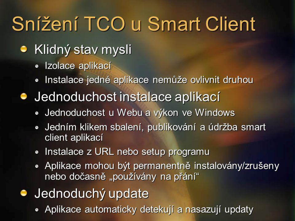 """Snížení TCO u Smart Client Klidný stav mysli Izolace aplikací Instalace jedné aplikace nemůže ovlivnit druhou Jednoduchost instalace aplikací Jednoduchost u Webu a výkon ve Windows Jedním klikem sbalení, publikování a údržba smart client aplikací Instalace z URL nebo setup programu Aplikace mohou být permanentně instalovány/zrušeny nebo dočasně """"používány na přání Jednoduchý update Aplikace automaticky detekují a nasazují updaty"""
