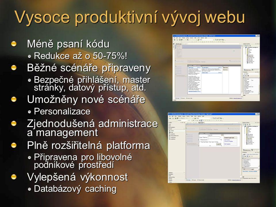 Vysoce produktivní vývoj webu Méně psaní kódu Redukce až o 50-75%.