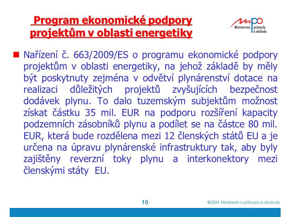  2004  Ministerstvo průmyslu a obchodu 10 Program ekonomické podpory projektům v oblasti energetiky Program ekonomické podpory projektům v oblasti energetiky Nařízení č.