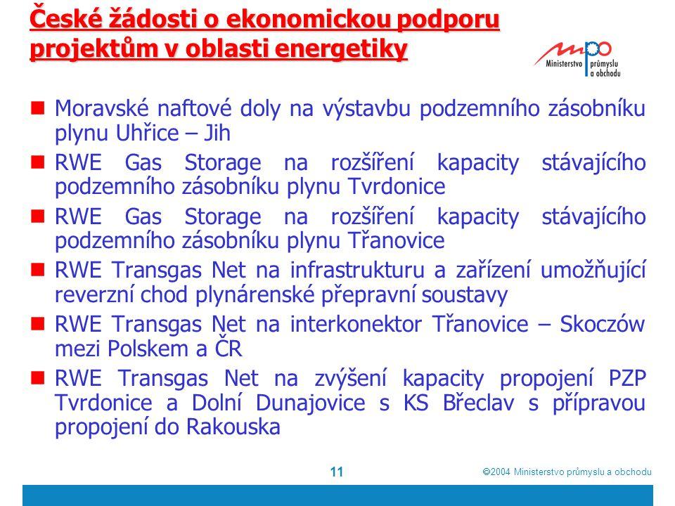  2004  Ministerstvo průmyslu a obchodu 11 České žádosti o ekonomickou podporu projektům v oblasti energetiky Moravské naftové doly na výstavbu podzemního zásobníku plynu Uhřice – Jih RWE Gas Storage na rozšíření kapacity stávajícího podzemního zásobníku plynu Tvrdonice RWE Gas Storage na rozšíření kapacity stávajícího podzemního zásobníku plynu Třanovice RWE Transgas Net na infrastrukturu a zařízení umožňující reverzní chod plynárenské přepravní soustavy RWE Transgas Net na interkonektor Třanovice – Skoczów mezi Polskem a ČR RWE Transgas Net na zvýšení kapacity propojení PZP Tvrdonice a Dolní Dunajovice s KS Břeclav s přípravou propojení do Rakouska