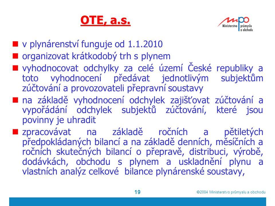  2004  Ministerstvo průmyslu a obchodu 19 OTE, a.s. v plynárenství funguje od 1.1.2010 organizovat krátkodobý trh s plynem vyhodnocovat odchylky za