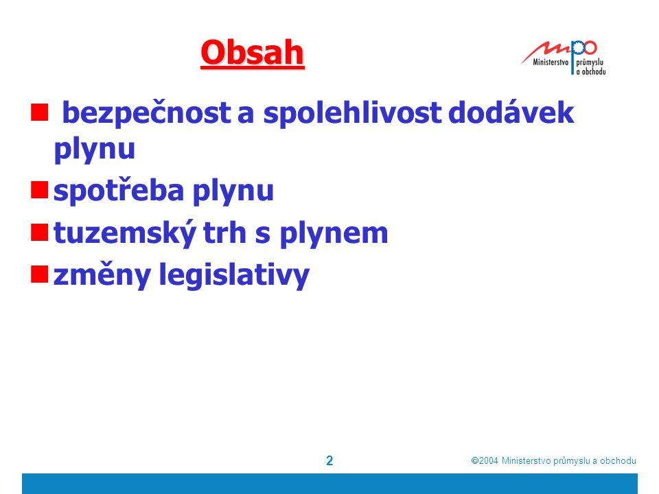  2004  Ministerstvo průmyslu a obchodu 2 Obsah bezpečnost a spolehlivost dodávek plynu spotřeba plynu tuzemský trh s plynem změny legislativy