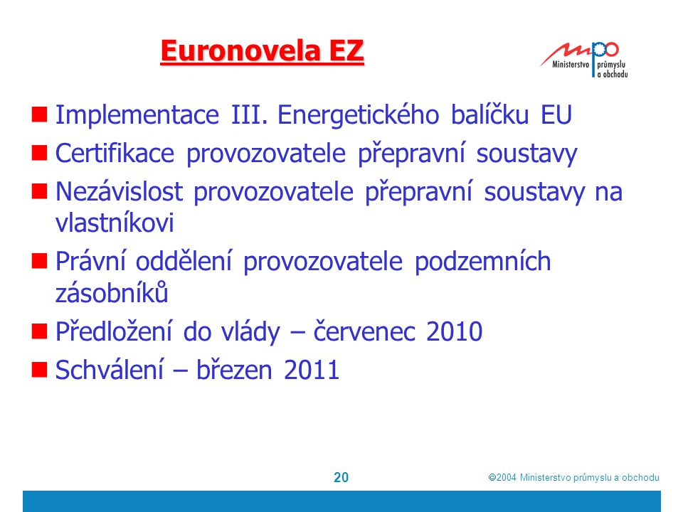  2004  Ministerstvo průmyslu a obchodu 20 Euronovela EZ Implementace III. Energetického balíčku EU Certifikace provozovatele přepravní soustavy Nez