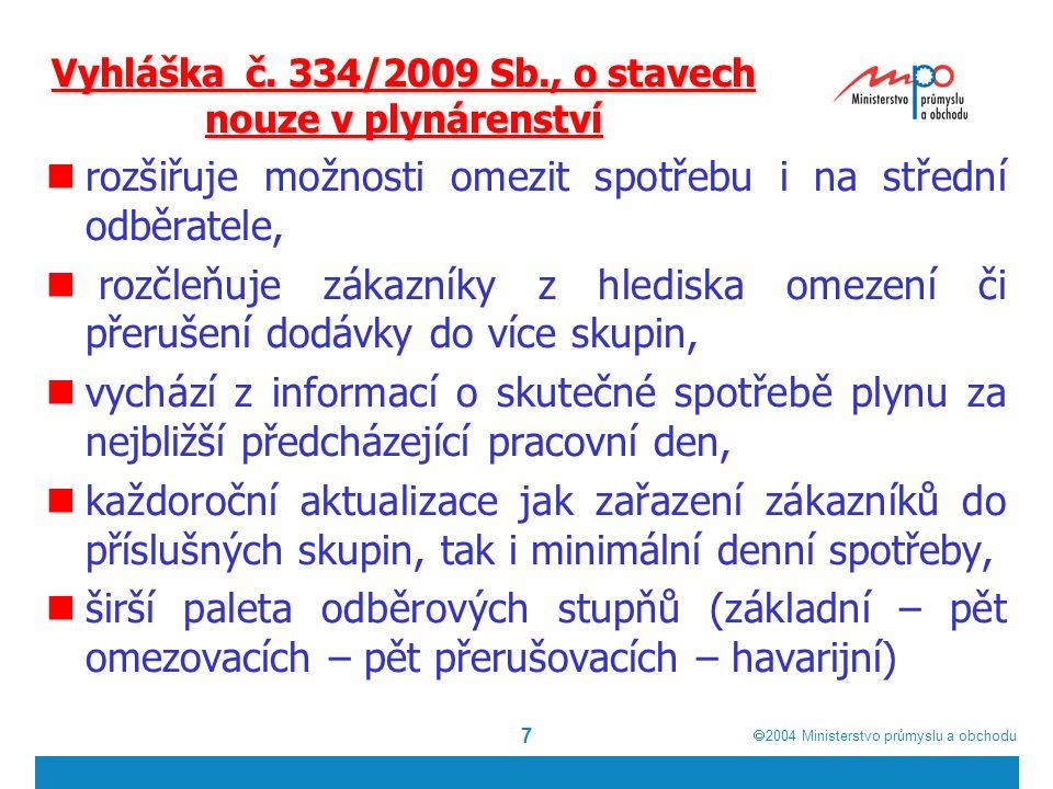 2004  Ministerstvo průmyslu a obchodu 7 Vyhláška č. 334/2009 Sb., o stavech nouze v plynárenství rozšiřuje možnosti omezit spotřebu i na střední o