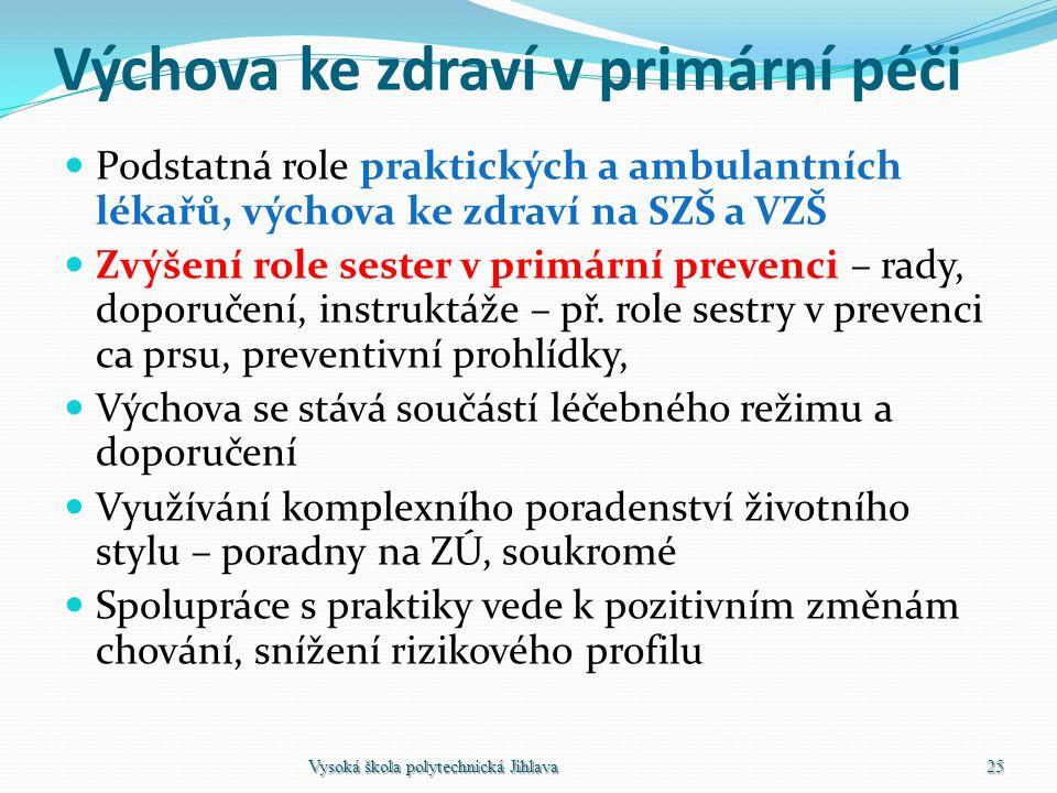 Výchova ke zdraví v primární péči Podstatná role praktických a ambulantních lékařů, výchova ke zdraví na SZŠ a VZŠ Zvýšení role sester v primární prev