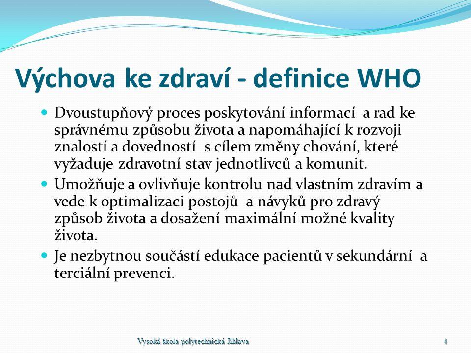 Výchova ke zdraví - definice WHO Dvoustupňový proces poskytování informací a rad ke správnému způsobu života a napomáhající k rozvoji znalostí a doved