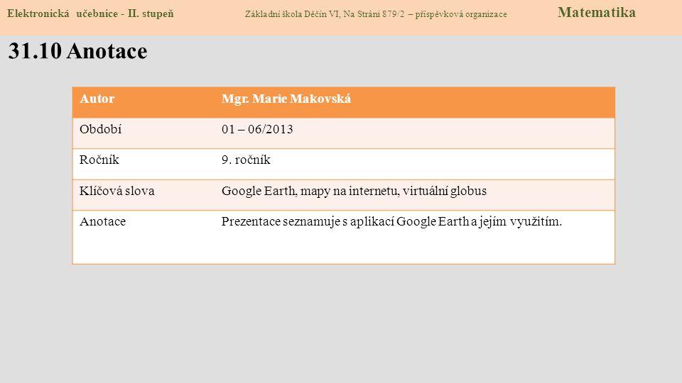 Zdroje: http://www.mapy.cz/http://www.mapy.cz/slide 2 http://amapy.centrum.cz/http://amapy.centrum.cz/slide 2 http://www.maps.google.czhttp://www.maps.google.czslide 2 http://www.google.cz/intl/cs/earth/download/ge/agree.htmlhttp://www.google.cz/intl/cs/earth/download/ge/agree.htmlslide 3 http://dum.rvp.cz/materialy/7-divu-sveta.htmlhttp://dum.rvp.cz/materialy/7-divu-sveta.htmlslide 6 http://serc.carleton.edu/images/eyesinthesky2/week12/launch_google_earth.jpghttp://serc.carleton.edu/images/eyesinthesky2/week12/launch_google_earth.jpgslide 7 Zdroje: http://www.mapy.cz/http://www.mapy.cz/slide 2 http://amapy.centrum.cz/http://amapy.centrum.cz/slide 2 http://www.maps.google.czhttp://www.maps.google.czslide 2 http://www.google.cz/intl/cs/earth/download/ge/agree.htmlhttp://www.google.cz/intl/cs/earth/download/ge/agree.htmlslide 3 http://dum.rvp.cz/materialy/7-divu-sveta.htmlhttp://dum.rvp.cz/materialy/7-divu-sveta.htmlslide 6 http://serc.carleton.edu/images/eyesinthesky2/week12/launch_google_earth.jpghttp://serc.carleton.edu/images/eyesinthesky2/week12/launch_google_earth.jpgslide 7 31.9 Použité zdroje, citace Elektronická učebnice - II.