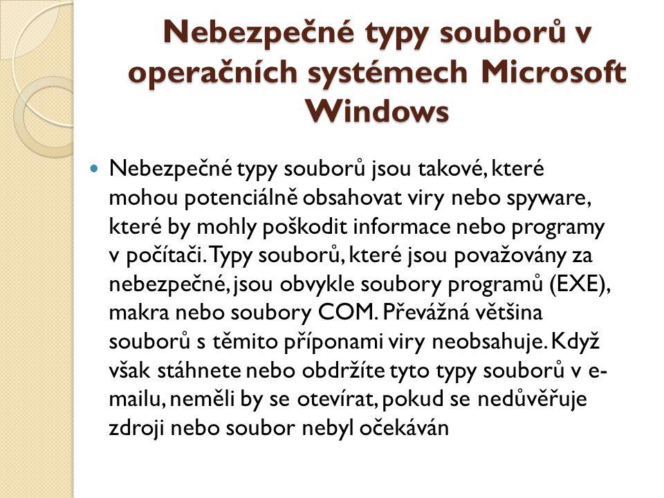 Nebezpečné typy souborů v operačních systémech Microsoft Windows Nebezpečné typy souborů jsou takové, které mohou potenciálně obsahovat viry nebo spyw