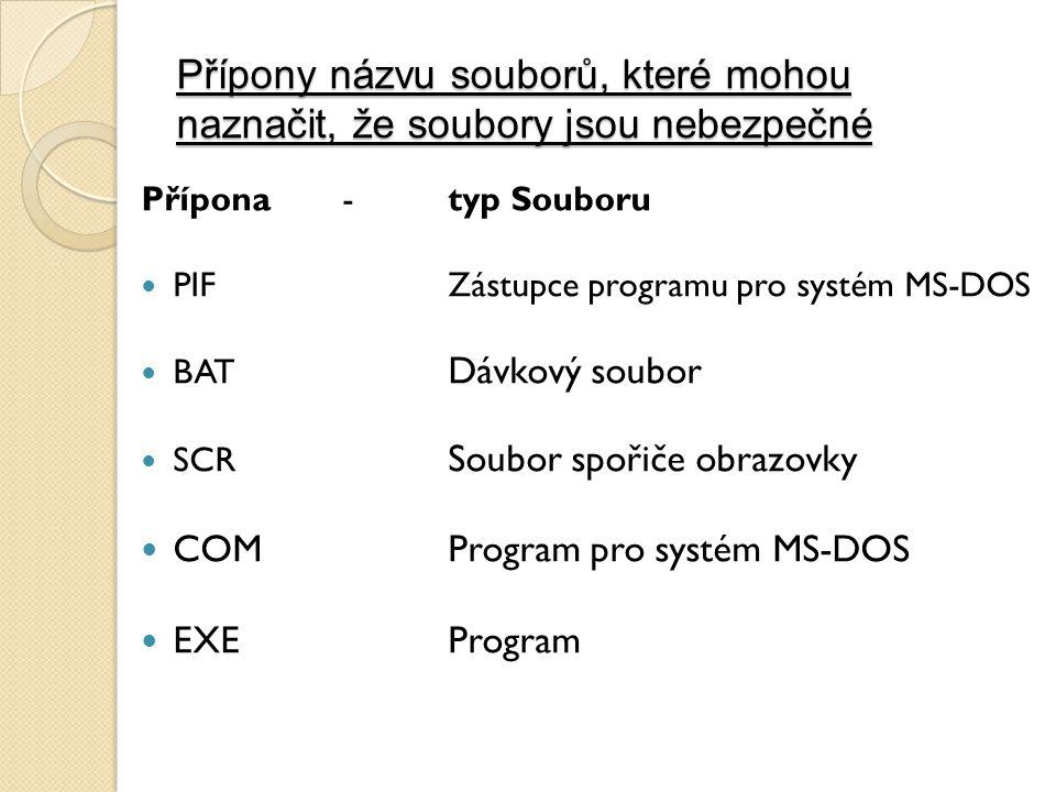 Přípony názvu souborů, které mohou naznačit, že soubory jsou nebezpečné Přípona-typ Souboru PIF Zástupce programu pro systém MS-DOS BAT Dávkový soubor