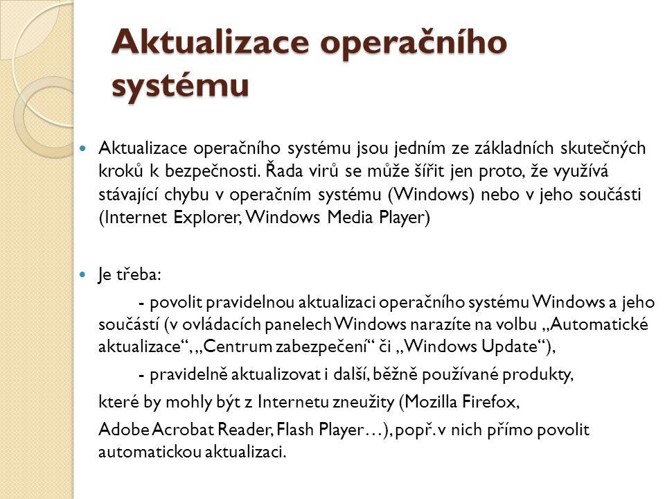 Antivirové programy použití, aktualizace Antivirový program (zkráceně antivir) je počítačový software, který slouží k identifikaci, odstraňování a eliminaci počítačových virů a jiného škodlivého software (malware) Úspěšnost závisí na schopnostech antivirového programu a aktuálnosti databáze počítačových virů.