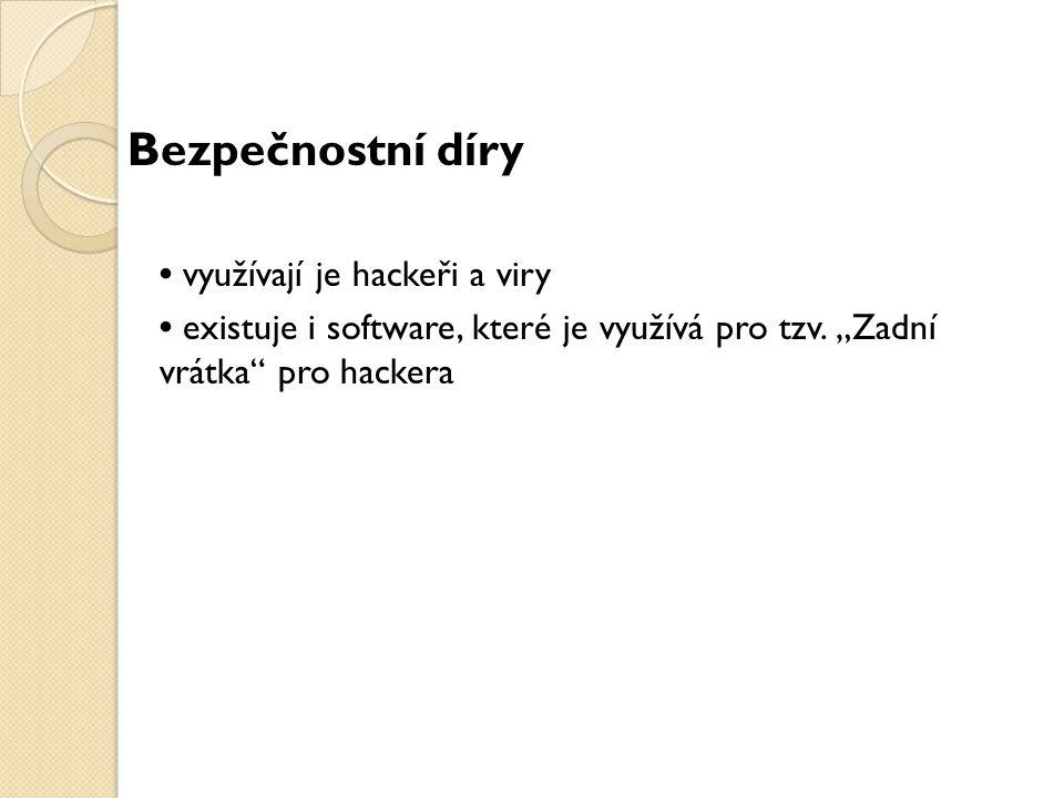 """Bezpečnostní díry využívají je hackeři a viry existuje i software, které je využívá pro tzv. """"Zadní vrátka"""" pro hackera"""