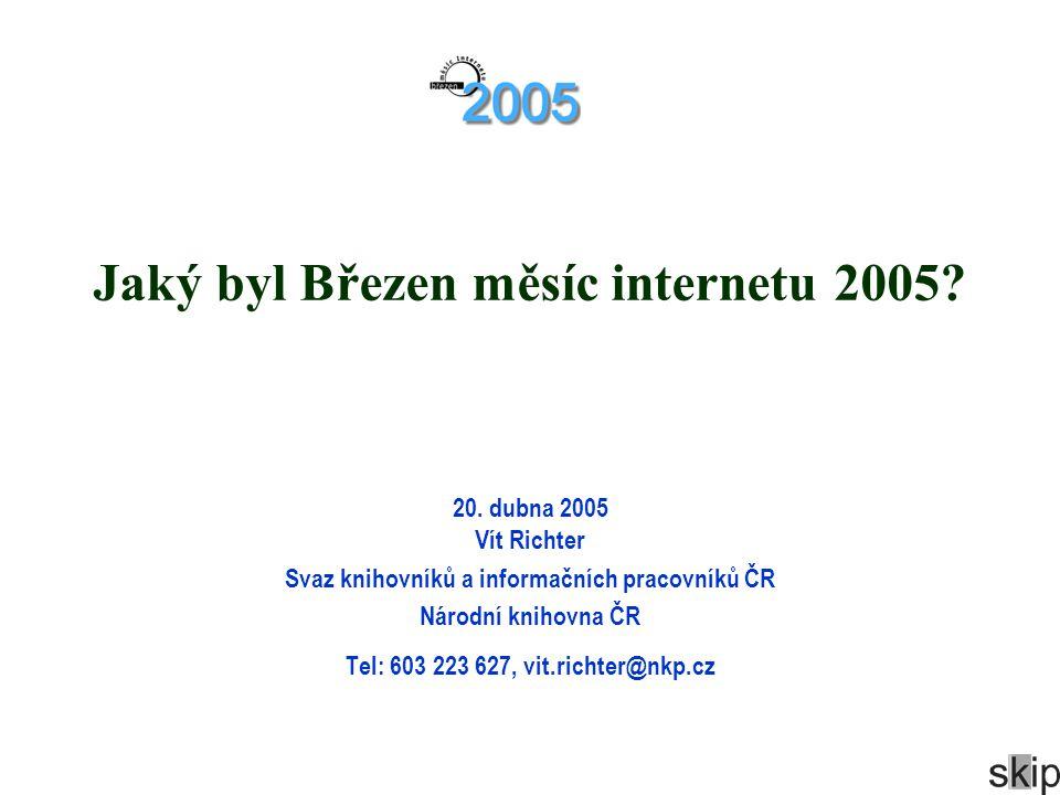 Jaký byl Březen měsíc internetu 2005? 20. dubna 2005 Vít Richter Svaz knihovníků a informačních pracovníků ČR Národní knihovna ČR Tel: 603 223 627, vi