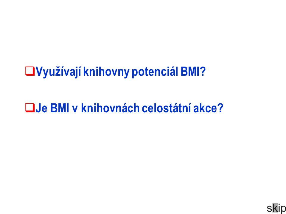  Využívají knihovny potenciál BMI?  Je BMI v knihovnách celostátní akce?