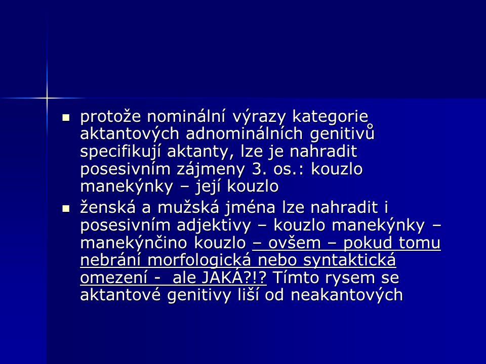 protože nominální výrazy kategorie aktantových adnominálních genitivů specifikují aktanty, lze je nahradit posesivním zájmeny 3. os.: kouzlo manekýnky