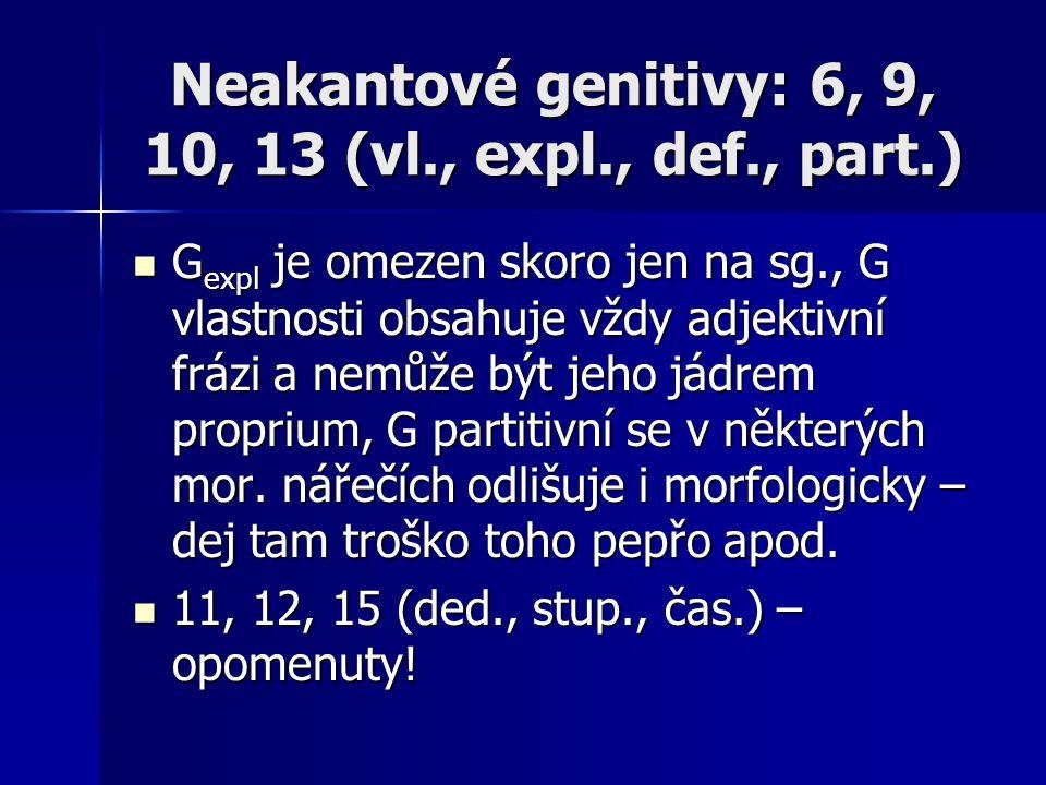 Neakantové genitivy: 6, 9, 10, 13 (vl., expl., def., part.) G expl je omezen skoro jen na sg., G vlastnosti obsahuje vždy adjektivní frázi a nemůže bý